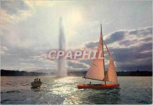 Moderne Karte Geneve Contre jour dans la rade Bateau