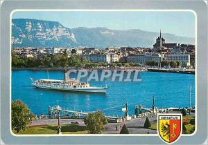 Moderne Karte Geneve Bateau Salon Helvetie dans la rade