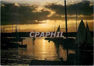 Moderne Karte Geneve Coucher de soleil sur la rade Bateaux