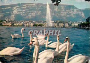 Moderne Karte Geneve Vue sur la Ville et le Saleve Cygnes