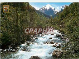 Moderne Karte Pirineu Catala (Lleida) Vall d'aran paysage de l'artiga de lin et fleuve joeu