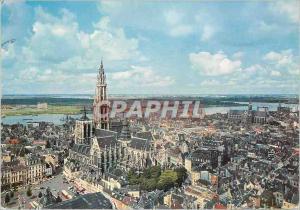 Moderne Karte Antwerpen zicht van uit torengebow naar het noordwestn