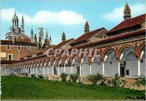 Moderne Karte Certosa di Pavia Un coin du grand Cloitre avec l'entree aux cellules