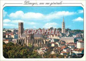Moderne Karte Limoges une vue generale au premier plan la cathedrale puis le clocher St Michel centre ville