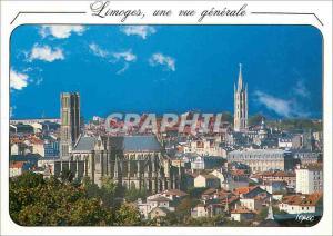Moderne Karte Limoges une vue generale Au premier plan la cathedrale St Etienne puis le clocher St Michel cent