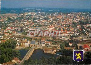 Moderne Karte Images de France Limousin St Junien Vue panoramique sur la ville avec au premier plan le vieux p