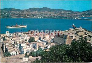 Moderne Karte Ibiza Baleares Espana Ciudad Vista panoramica