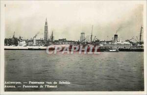 Moderne Karte Anvers Panorama de l'Escaut Bateaux