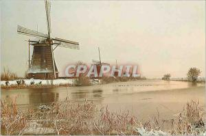 Moderne Karte Kinderdijk Holland Drainage mills of the Kinderdijk complex polder The Overwaard Moulin a vent