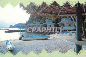 Moderne Karte Nipa cottages built on stilts along the shores of El Nido Beach Resort Palawan