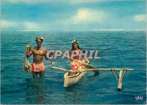 Moderne Karte Tahiti Back from fishing Bateau