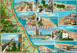Moderne Karte Riviera Adriatica Italia