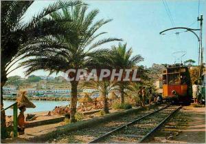 Moderne Karte Mallorca port de sollers detail Tramway Train