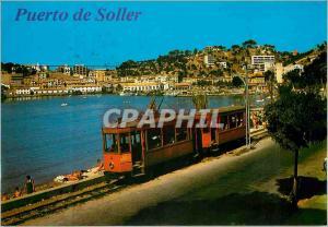 Moderne Karte Mallorca port de sollers detail del puero Train Tramway