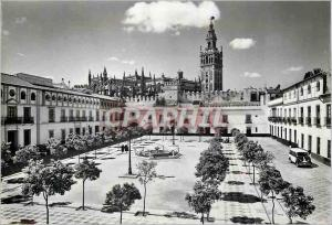 Moderne Karte Reales Alcazares de Sevilla Cour de Drapeaus et Cathedrale