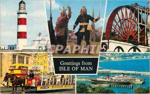 Moderne Karte Greeting from Isle of Man Viking Bateau