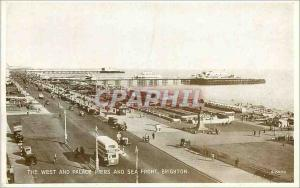 Moderne Karte The West and Palace Piers and Sea Front Brighton