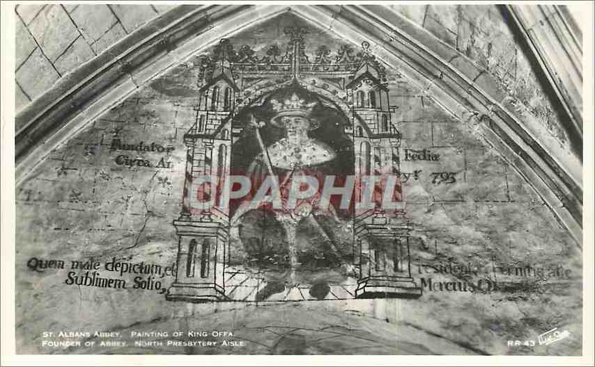 Moderne Karte St Albans Abbey Painting of King Ofra Founder of Abbey North presbytery aisle 0