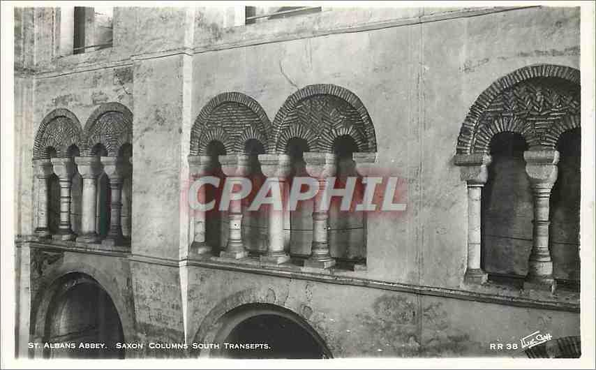 Moderne Karte St Albans Abbey Saxon columns South transepts 0