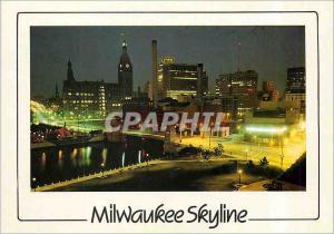 Moderne Karte A Night View Milwaukee Skyline Wisconsin