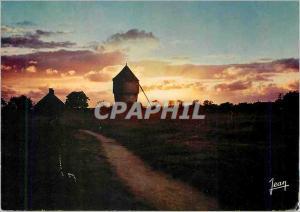 Moderne Karte Coucher de soleil un vieux moulin une chaumiere et le chemin
