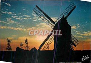 Moderne Karte La cote d'Opale Le moulin des Huttes au crepuscule