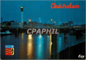 Moderne Karte Ouistreham riva bella (Calvados) l'ecluse a la nuit tombante