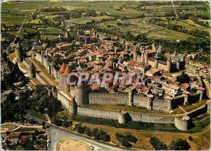 Moderne Karte La Cite de Carcassonne (Aude) Vue generale par avion de la cite medievale