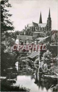 Moderne Karte en Beauce Chartres (Eure et Loir) Bords de l'Eure et la Cathedrale