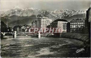 Moderne Karte Les Belles Alpes Francaises Grenoble Pont de la Porte de France et les Alpes