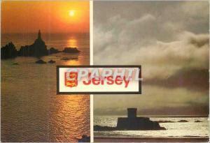 Moderne Karte Jersey La Corbiere Lighthouse and St Ouen's Bay Jersey C I