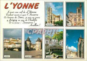 Moderne Karte Les Merveilles de l'Yonne La Cathedrale Saint Pierre d'Auxerre Sens Joigny Chablis Tonnerre Aval