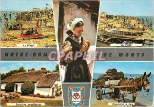 Moderne Karte Notre Dame de Monts (Vendee) La plage Bourrine vendeenne Charrette a ane Donkey