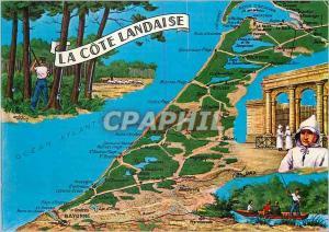Moderne Karte La Cote Landaise Chasse Peche