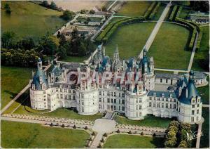 Moderne Karte Chambord Loir et Cher La facade nord ouest du chateau vue d avion