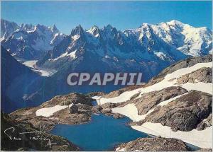 Moderne Karte Lac Blanc Chaine des Aiguilles de Chamonix et Mont Blanc