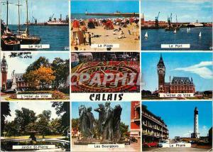 Moderne Karte Calais Pas de Calais Le port La plage L'hotel de ville Le phare Jardin St Pierre
