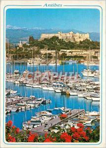 Moderne Karte Cote d Azur Antibes AM Le port de plaisance au fond le Fort Carre et les Alpes neigeuses