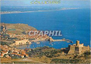 Moderne Karte Collioure Ville Catalane Vue Aerienne Au Premier Plan Le Tour Moyen Age)