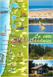 Moderne Karte La Cote Landaise Arcachon Biscarrosse Mimizan Dax Bayonne