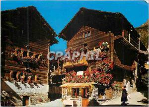 Moderne Karte Evolene (Val d'Herens) VS Suisse Vieux Chalets Typiques