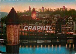 Moderne Karte Luzern Alstadt mit Kapellbrucke und Museggturmen