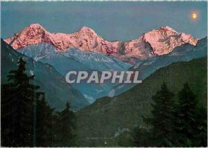 Moderne Karte Berner Oberland Eiger Monch und Jungfrau Alpengluhen