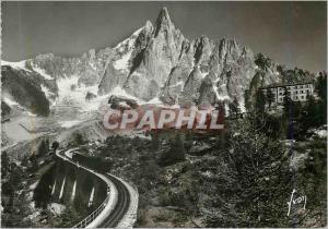 Moderne Karte Chamonix Hte Savoie L aiguille du Dru et l hotel du Montenvers Train