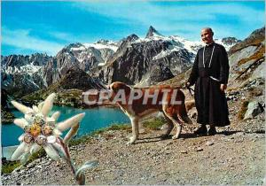 Moderne Karte Vallee d Aoste pittoresque The Great St Bernard Pass General view from the kennel Chien