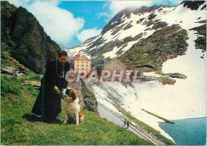 Moderne Karte Passage of the Gr St Bernardo Monk with his dogs