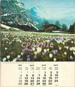 Gindewald Eiger 2 pages calendrier 1971 Avril Mai
