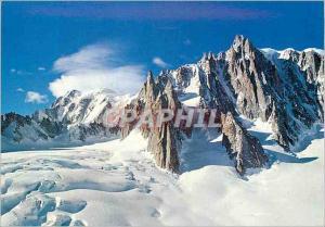 Moderne Karte Chaine du Mont Blanc Glacier de la Vallee Blanc Mont Blanc du Tacul et le Grand Capucin au fond