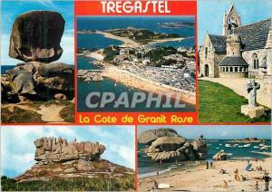 Moderne Karte Couleurs de Bretagne La Cote de Grant Rose Tregastel Le De la plage du Coz Pors l eglise la cour