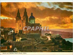 Moderne Karte Sunset over Mellieha Parish Church Malta The parish church of Mellieha dominates majestically th